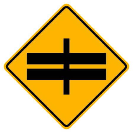 Highway Intersection Ahead Traffic Road Sign,Vector Illustration, Isolate On White Background Label. Standard-Bild - 134717754
