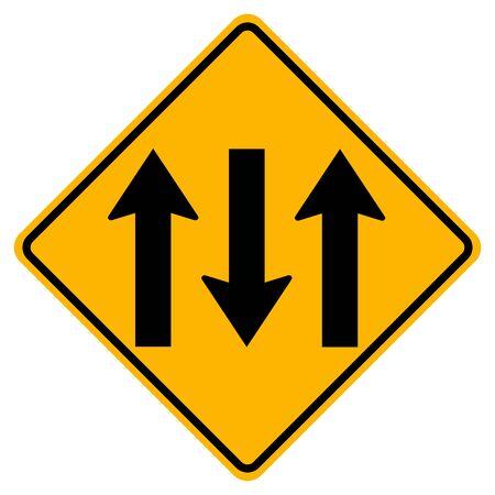 Three Lane Traffic Road Sign,Vector Illustration, Isolate On White Background Label. Standard-Bild - 134717757