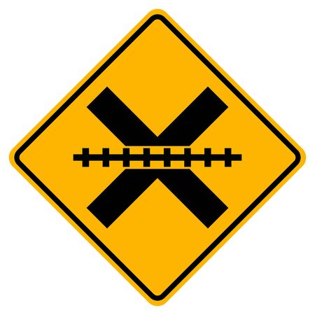 Railway Level Crossing Warning Symbol Sign,Vector Illustration, Isolate On White Background Label. 向量圖像