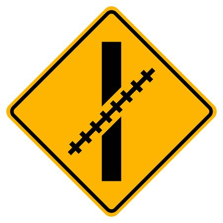 Warning Railway Level Crossing at an oblique angle Symbol Sign,Vector Illustration, Isolate On White Background Label.