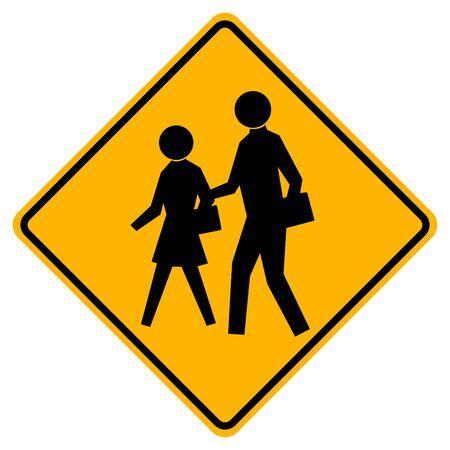 Warning School Traffic Road Sign,Vector Illustration, Isolate On White Background Label. Vetores