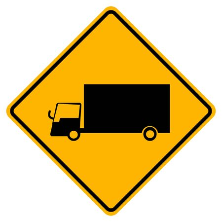 Warning Truck Traffic Road Yellow Signs ,Vector Illustration, Isolate On White Background Label. Standard-Bild - 134717769