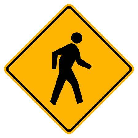 Pedestrian Crossing Warning Road Sign, Vector Illustration, Isolate On White Background Label. Standard-Bild - 134717791