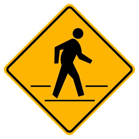 Pedestrian Crossing Warning Road Sign,Vector Illustration, Isolate On White Background Label. Standard-Bild - 134717793