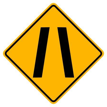 Narrowing Traffic Road Sign,Vector Illustration, Isolate On White Background Label Standard-Bild - 134717794