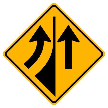Segnale stradale di avvertimento che si fonde da sinistra, illustrazione vettoriale, isolare su sfondo bianco etichetta. Vettoriali
