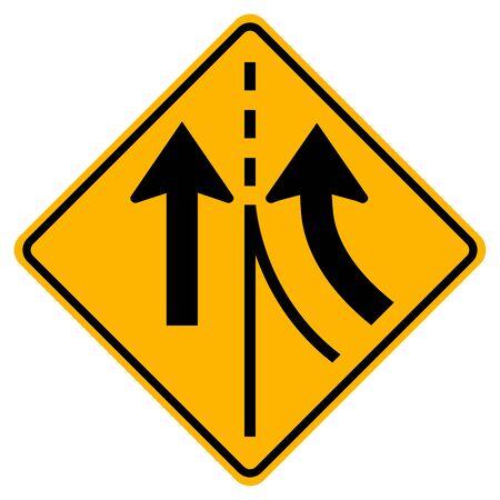 Warning traffic sign merging Right lane,Vector Illustration, Isolate On White Background Label. Standard-Bild - 134717696