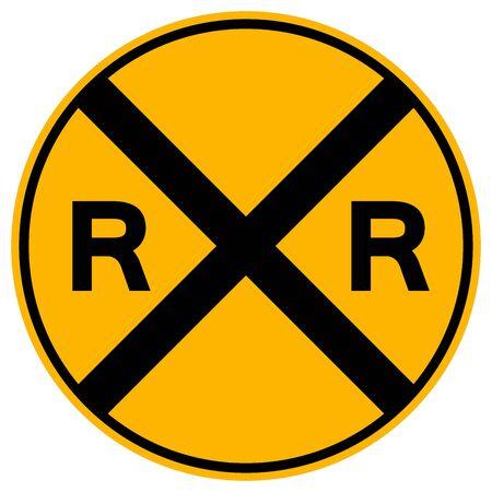 Railway level crossing warning sign, Vector Illustration, Isolate white background Label 向量圖像