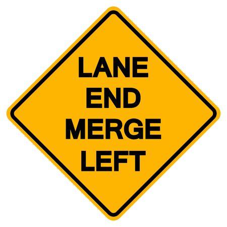 Warning Lane End Merge Left Road Symbol Sign, Vector Illustration, Isolate On White Background, Label ,Label. EPS10  Ilustração