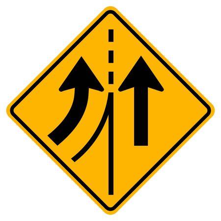 Warning traffic sign merging Left lane,Vector Illustration, Isolate On White Background Label. EPS10