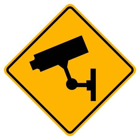 Warning CCTV Video Camera sign, Vector Illustration, Isolate white background Label. EPS10 Vettoriali