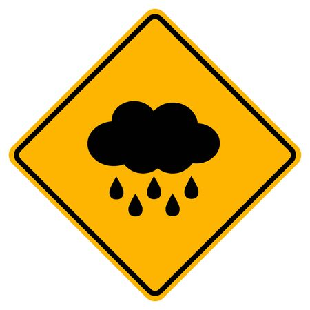 Cloud With Raining Warning Sign, Vector Illustration, Isolate On White Background Label. Standard-Bild - 134717702