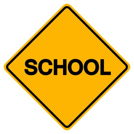 Warning School Sign, Vector Illustration, Isolate On White Background Label. Standard-Bild - 134717703