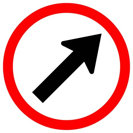Go To The Right By The Arrow Traffic Road Sign, Vector Illustration, Isolate On White Background Label. EPS10
