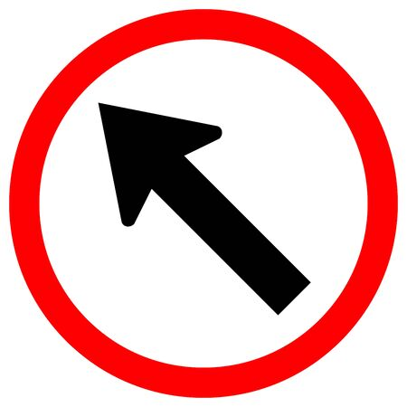 Go To The Left By The Arrow Traffic Road Sign,Vector Illustration, Isolate On White Background Label.