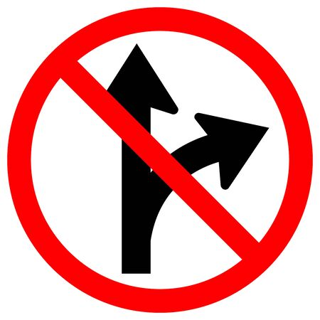 Prohibit Proceed Straight or Turn Right Road Sign, Vector Illustration, Isolate White Background Label.