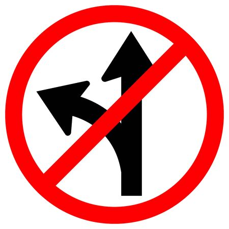 Prohibit Proceed Straight or Turn Left Road Sign, Vector Illustration, Isolate On White Background Label.