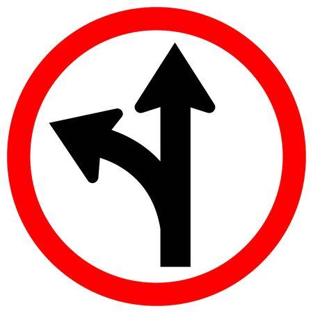 Continuez tout droit ou tournez à gauche Panneau de signalisation, Illustration vectorielle, Isolez sur l'étiquette de fond blanc. EPS10 Vecteurs