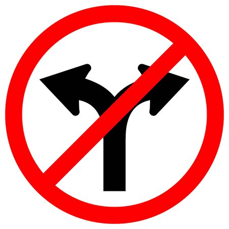 Prohibit Fork In Road Traffic Sign,Vector Illustration, Isolate On White Background Label. EPS10
