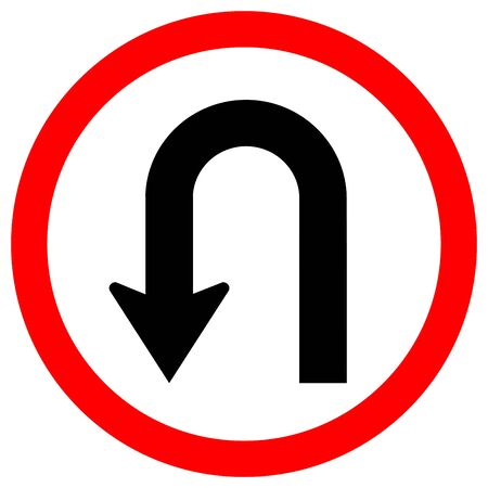 U-Turn Left Traffic Road Sign, Vector Illustration, Isolate On White Background Label .EPS10