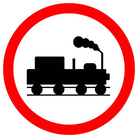 Train Railroad Traffic Road Sign,Vector Illustration, Isolate On White Background Label. Standard-Bild - 134732283