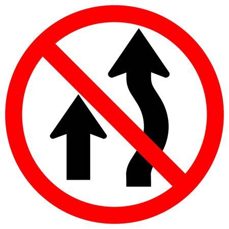 Prohibited Overtaking Traffic Sign,Vector Illustration, Isolate On White Background Label. Çizim