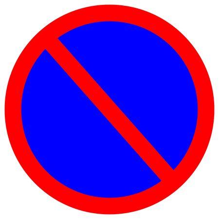 Aucun panneau de signalisation de trafic de stationnement, illustration vectorielle, isoler sur l'étiquette de fond blanc.