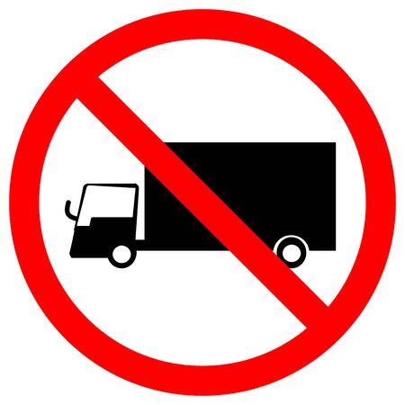 Prohibit Truck Traffic Road Sign,Vector Illustration, Isolate On White Background Label. EPS10  Illustration