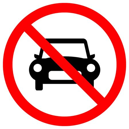 No Car Traffic Road Sign,Vector Illustration, Isolate On White Background Label. EPS10