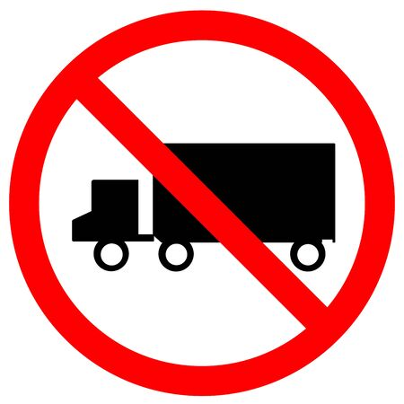 No Truck Traffic Road Sign,Vector Illustration, Isolate On White Background Label. Çizim