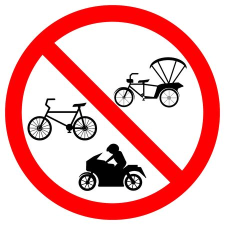 Prohibit Bicycle Or Tricycle Symbols Sign,Vector Illustration, Isolate On White Background, Label. Çizim