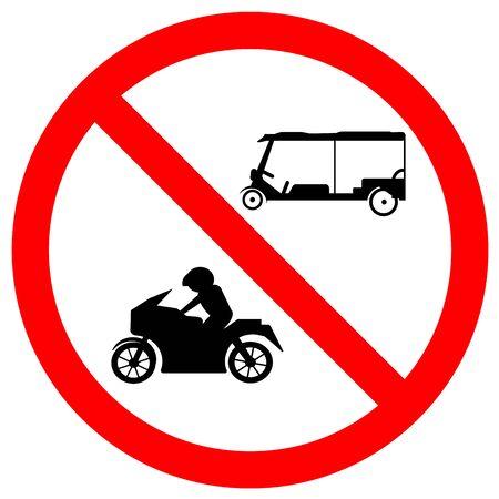 No Tuk Tuk Thailand Or Rickshaw Three Wheeled  Tricycle,Motorcycles,Traffic Sign Symbol,Vector Illustration, Isolate On White Background, Label. Çizim