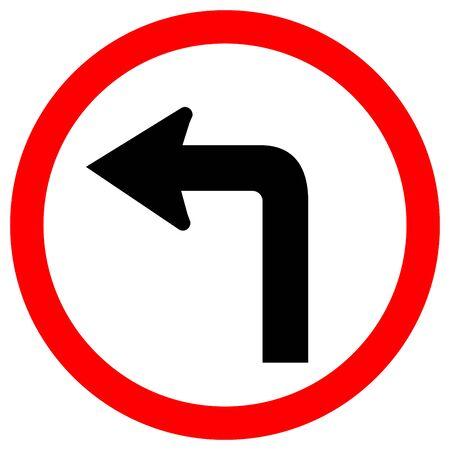 Tourner à gauche panneau de signalisation routière, illustration vectorielle, isoler sur fond blanc Lael .eps10