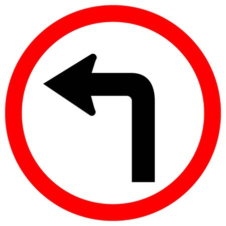 Turn Left Traffic Road Sign, Vector Illustration, Isolate On White Background Lael .EPS10  Ilustrace