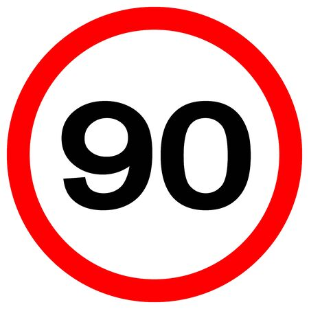 Speed Limit 90 Traffic Sign,Vector Illustration, Isolate On White Background Label.