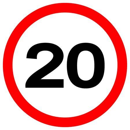 Límite de velocidad 20 Señal de tráfico, ilustración vectorial, aislar en etiqueta de fondo blanco. Ilustración de vector