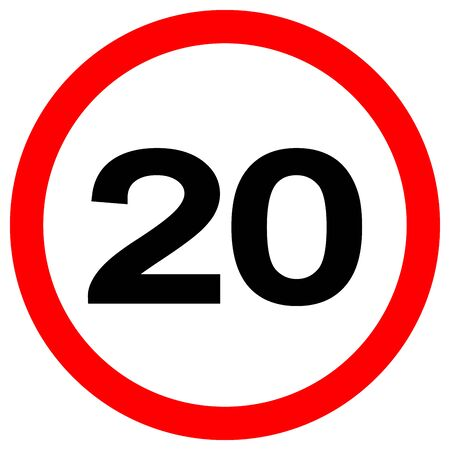 Speed Limit 20 Traffic Sign,Vector Illustration, Isolate On White Background Label. Vektoros illusztráció