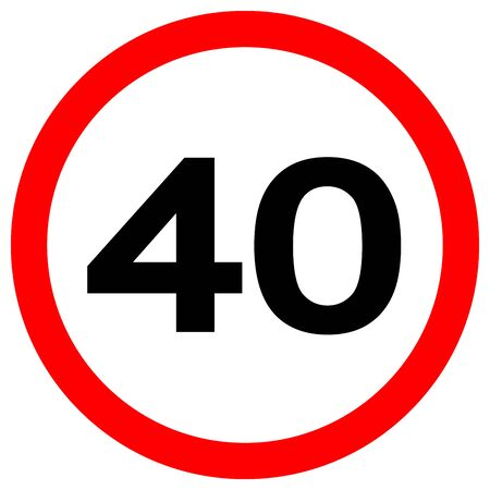 Speed Limit 40 Traffic Sign,Vector Illustration, Isolate On White Background Label. EPS10  Vectores