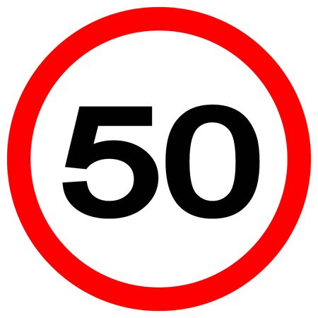 Speed Limit 50 Traffic Sign,Vector Illustration, Isolate On White Background Label.