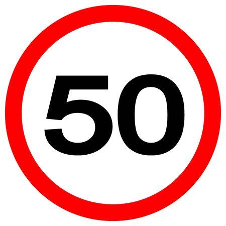 Tempolimit 50 Verkehrszeichen, Vektor-Illustration, auf weißem Hintergrund-Label isolieren.