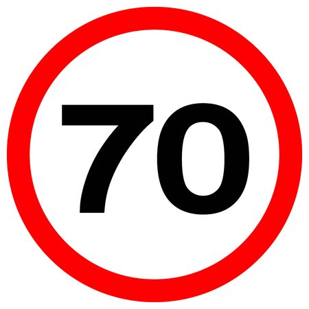 Speed Limit 70 Traffic Sign,Vector Illustration, Isolate On White Background Label. Vektoros illusztráció