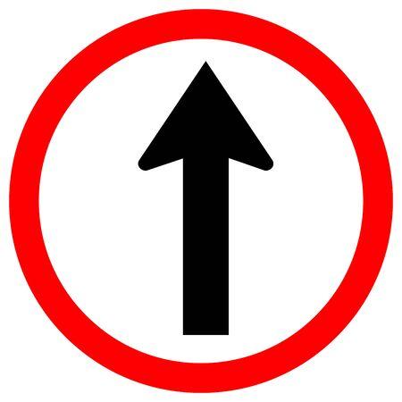 Panneau de signalisation à sens unique ou aller tout droit, illustration vectorielle, isoler sur l'étiquette de fond blanc .EPS10