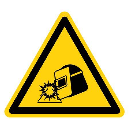 Warning Welding ARC Wear Proper Eye Protection Symbol Sign, Vector Illustration, Isolated On White Background Label .