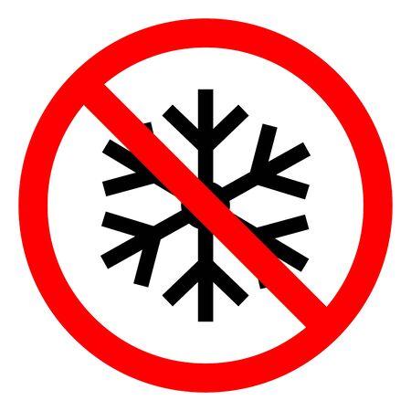 Symbole de conditions de congélation à basse température de danger, illustration vectorielle, étiquette isolée sur fond blanc. EPS10