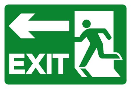 Exit Symbol Sign, Vector Illustration, Isolate On White Background Label. EPS10