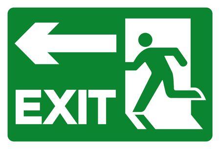 Exit-Symbol-Zeichen, Vektor-Illustration, isoliert auf weißem Hintergrund-Label. EPS10
