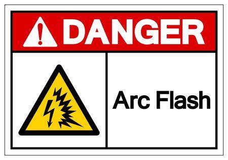Gefahrenlichtbogen-Blitz-Symbol-Zeichen, Vektor-Illustration, auf weißem Hintergrund-Etikett isolieren Vektorgrafik