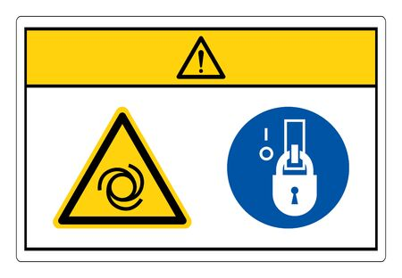 Caution Equipment Starts Automatically Lock Out In De-Energized State Symbol Sign, Vector Illustration, Isolate On White Background Label. EPS10