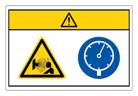 Attention, signe de symbole de dispositif sous pression, illustration vectorielle, isoler sur étiquette de fond blanc. EPS10 Vecteurs