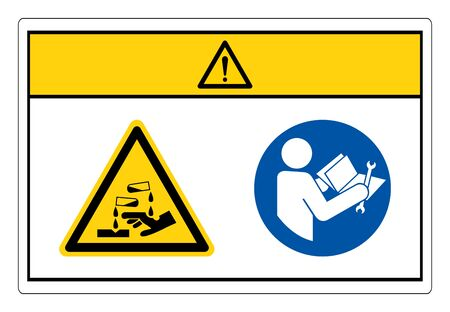 Caution Chemical Hazard Read Technical Manual Before Servicing Symbol Sign, Vector Illustration, Isolate On White Background Label.